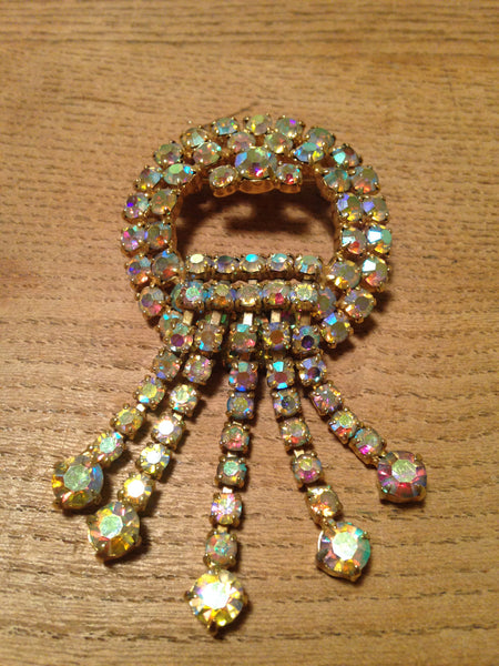 Magnificently sparkly 1960s iridescent diamante drop brooch - Wowie Zowie  - 2