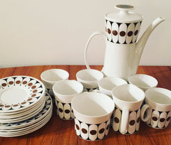 Wonderful Black Velvet Coffee Set By John Russell for Hostess Tableware (1960s/70s).