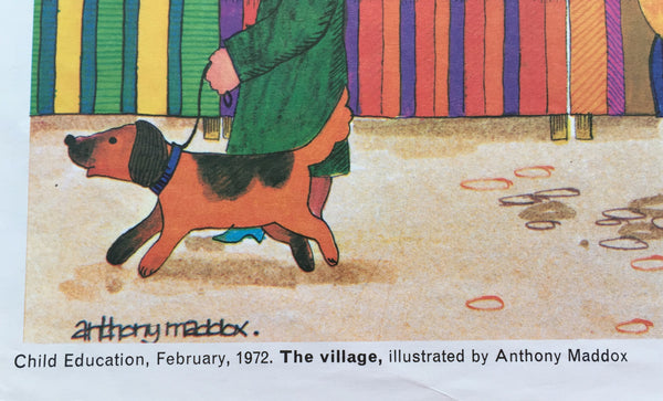 Fabulously colourful 'The Village' Child Educational Poster 1972 - Wowie Zowie  - 2