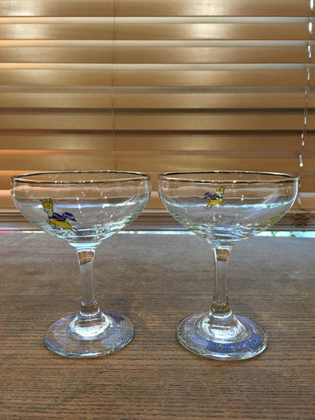 A pair of fabulous 1960s vintage original Babycham glasses - Wowie Zowie  - 1