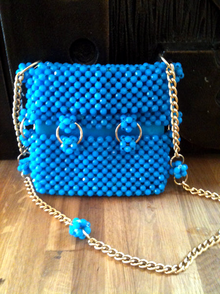 Wonderfully pop candy turqouise beaded shoulder bag - Wowie Zowie