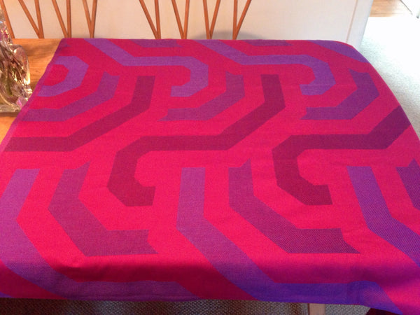 Gorgeously rich pink and purple iridescent 1960s op art modernist woven cotton fabric - Wowie Zowie
