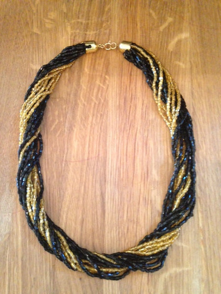 Oh so shimmery 1960s disco multi stranded black gold tiny glass bead necklace - Wowie Zowie  - 1