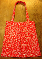 Striking red and white pop art daisy print cotton 1960s - perfectly hand sewn bag - Wowie Zowie
