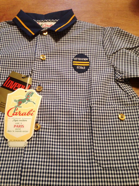 Incredibly cute 1960s Carabi French gingham toddlers smock top with oh so cute pockets and buttons - Wowie Zowie  - 1