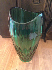 Boldly beautiful green pressed glass vase designed by Vaclav Hanus in 1957 for Rudolva Hut Glassworks - Wowie Zowie