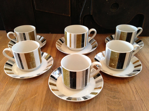 Majestically Midwinter Queensbury Stripes individual coffee cups and saucers - Wowie Zowie