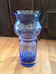 Beautiful blue glass 'tuulikki' tulip vase by Tamara Aladin for Riihimaki Finland - Wowie Zowie