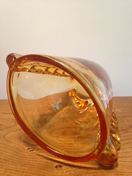 Wonderfully striking Whitefriars gold amber ovoid heavy glass flanged vase designed in 1954 by William Wilson pattern no. 9384 - Wowie Zowie  - 4
