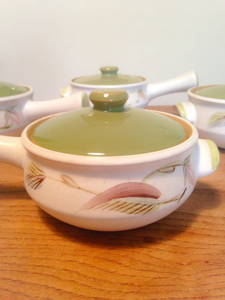 Charmingly pretty set of four 1970s 'Spring' chunky stoneware individual casserole/soup dishes designed by Albert College for Denby - Wowie Zowie  - 1