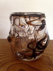 Wonderfully weighty Whitefriars 1960s streaky brown art glass knobbly vase designed by William Wilson and Harry Dyer Pattern no: 9608 - Wowie Zowie  - 1