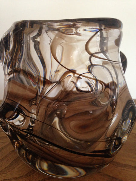 Wonderfully weighty Whitefriars 1960s streaky brown art glass knobbly vase designed by William Wilson and Harry Dyer Pattern no: 9608 - Wowie Zowie  - 2
