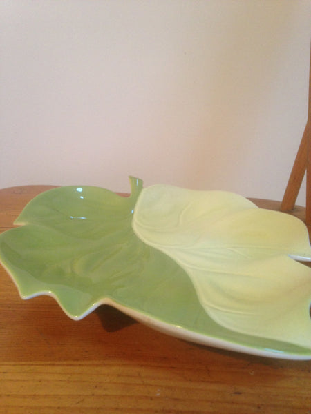 Gorgeously green & cream 1960s Carlton Ware detailed upturned leaf serving plate / dish - Wowie Zowie  - 3
