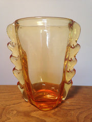Wonderfully striking Whitefriars gold amber ovoid heavy glass flanged vase designed in 1954 by William Wilson pattern no. 9384 - Wowie Zowie  - 1