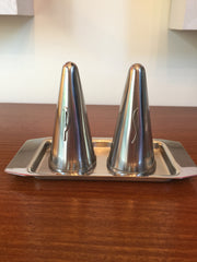 SALE - Was £12 Stylishly Danish steel 1970s conical salt and pepper pots with tray