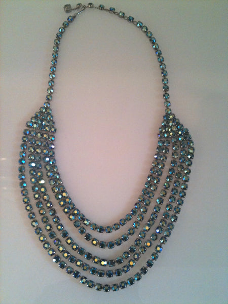 Dazzlingly diamante swag necklace with sparking rows of aqua blue stones - Wowie Zowie