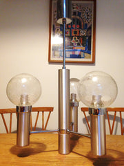 Fantastically modernist French 1970s space age ceiling light chrome with beautiful bubbled glass shades - Wowie Zowie