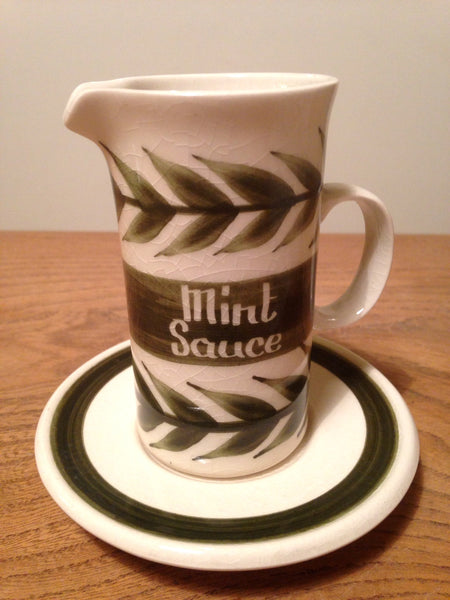 Folky little ceramic hand painted Mint Sauce jug with saucer by Jersey Pottery - Wowie Zowie  - 1