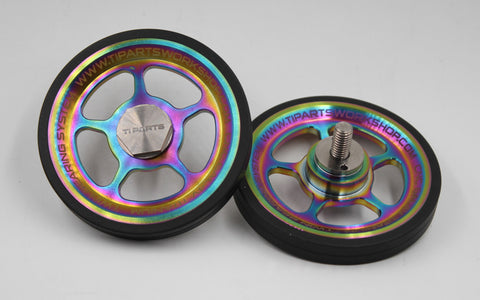Brompton Ti Parts Workshop Easy Wheels 66mm with raw titanium bolts (Rainbow, Five Spoke)