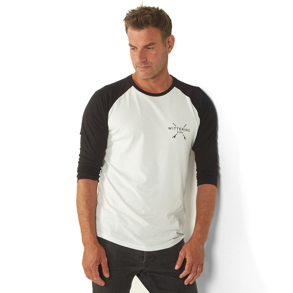 Men's Baseball T-Shirt – White/Black - Wittering Surf Shop