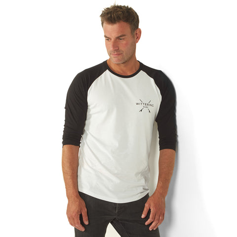 Baseball T-Shirt – White/Black - Wittering Surf Shop
