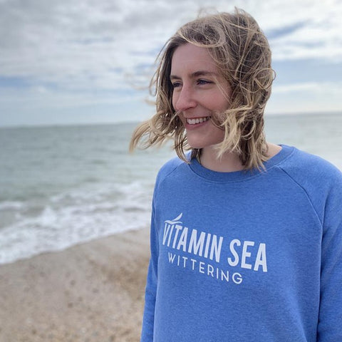 Ladies Vitamin Sea Jumper - Mid Heather Blue