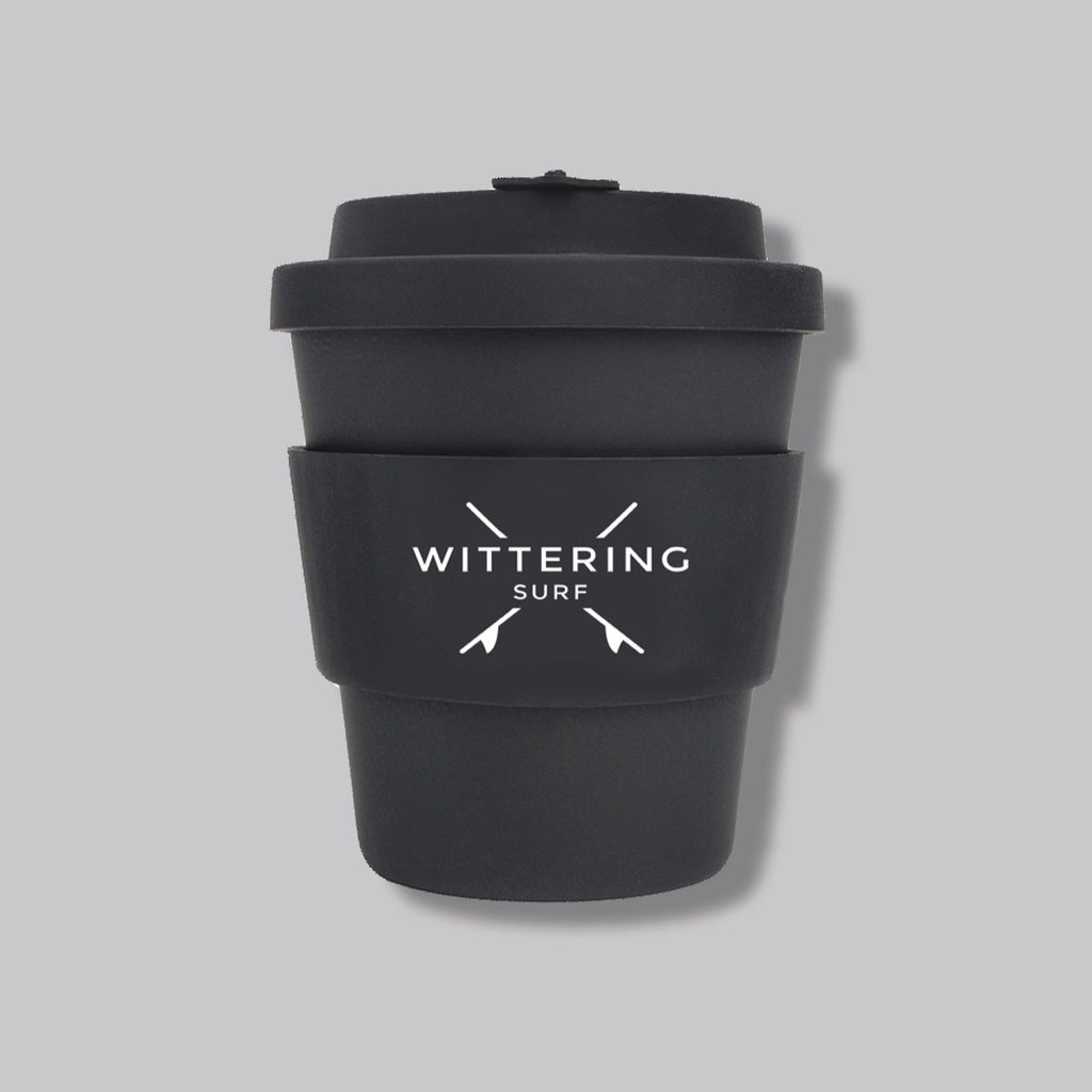 Wittering Surf Reusable Takeaway Cup - Black - Wittering Surf Shop
