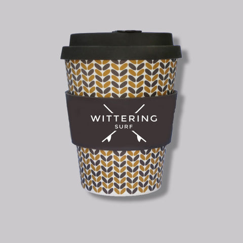 Wittering Surf Reusable Takeaway Cup - Brown 12 oz/340 ml