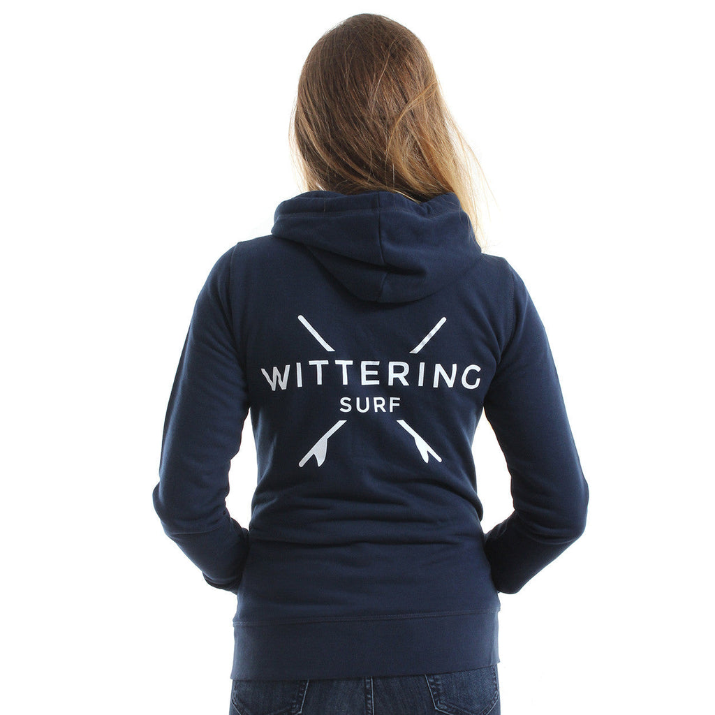 Ladies Dory Zip Hoodie – Navy - Wittering Surf Shop