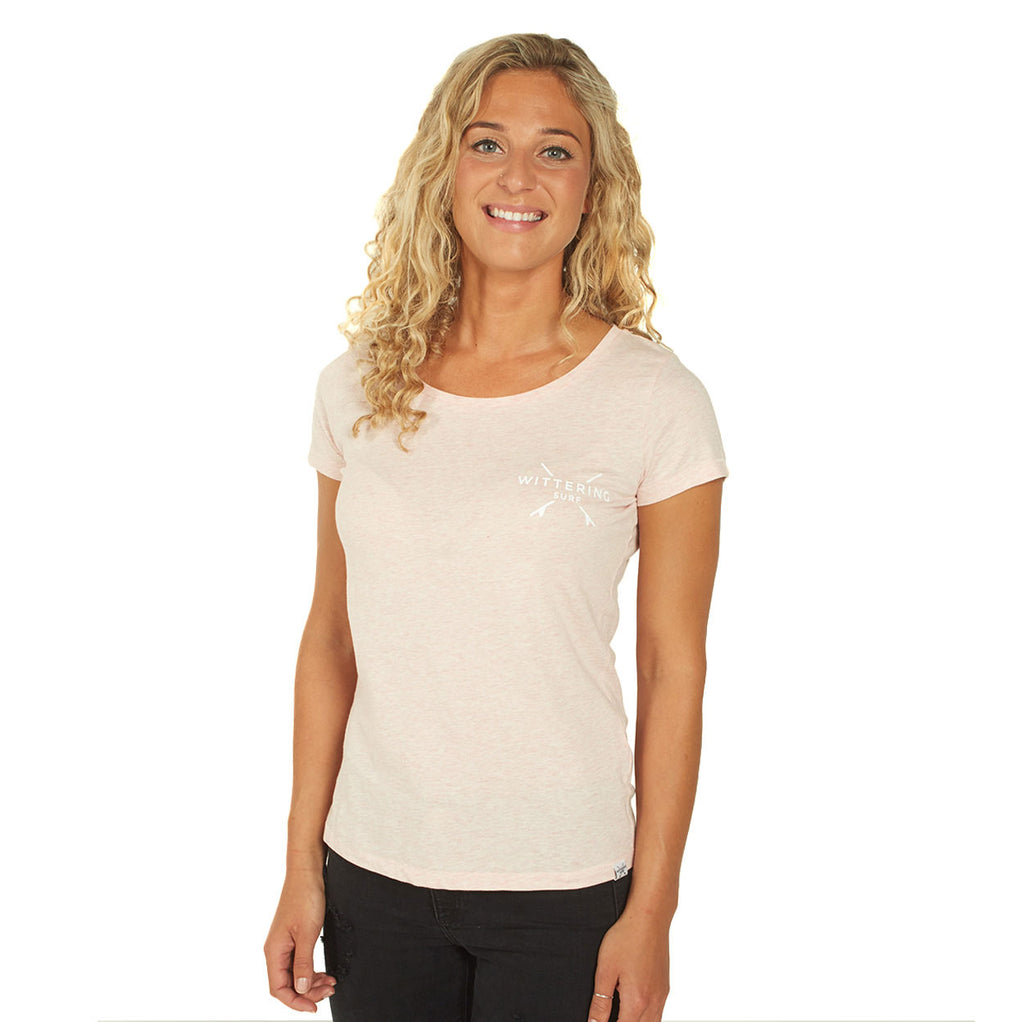 Ladies Everyday T-Shirt - Cream Heather Pink - Wittering Surf Shop