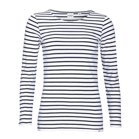 Biarritz Long Sleeve Striped Tee - White/Blue - Wittering Surf Shop