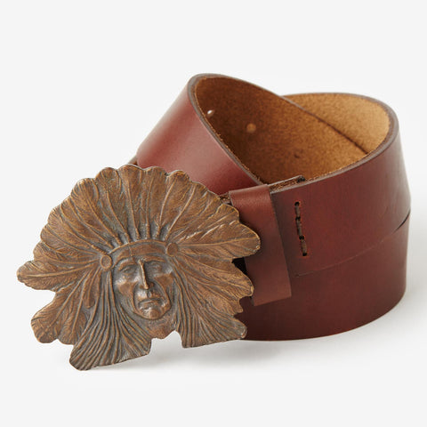 Indian Head Buckle Belt - Dark Brown