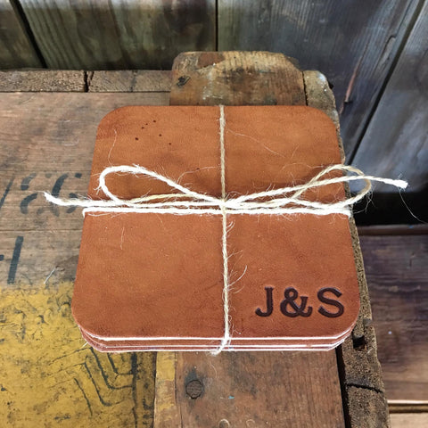 Leather Coasters - Square - Monogrammed
