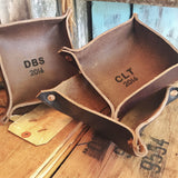 Leather Trays - Dark Brown - Monogrammed