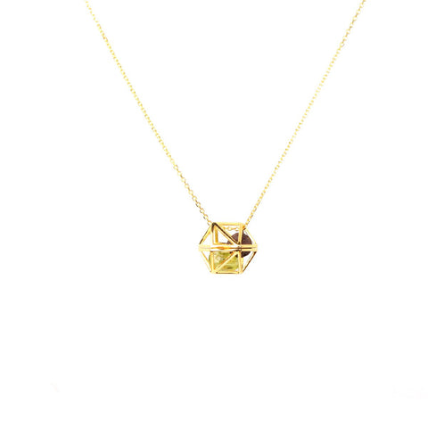 WATER (ICOSAHEDRON) DIFFUSER NECKLACE in 18ct Gold