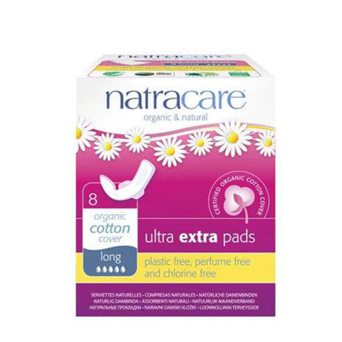 Natracare Ultra Extra Pads with Wings (31cm Long, 8 pads)