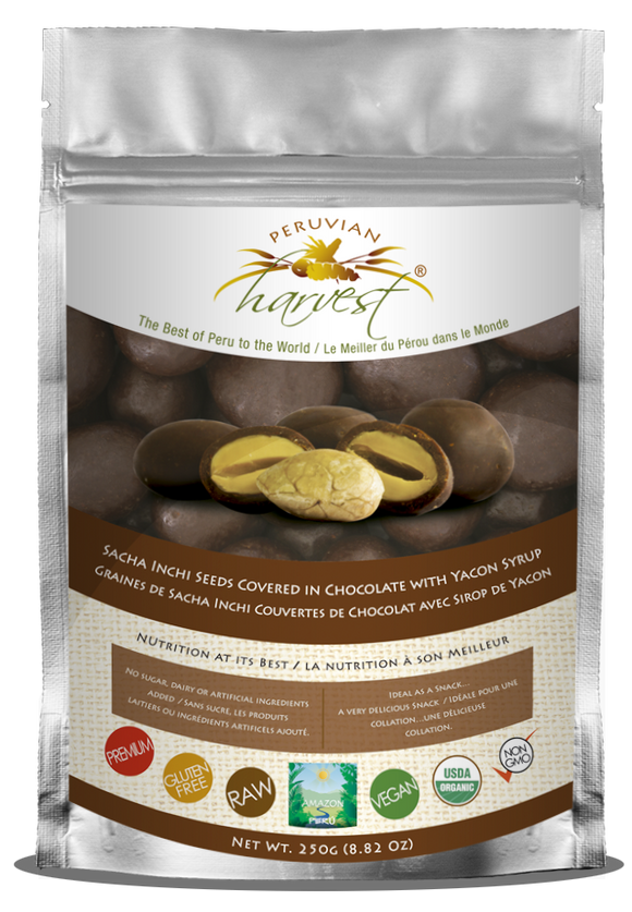 Peruvian Harvest Sacha Inchi Seeds Covered in Chocolate with Yacon Syrup (250g)