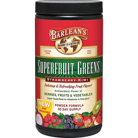 Barlean's Organic Greens Superfruit Strawberry Kiwi (270g)| Barlean's 有機青蔬植物粉-天然草莓奇異果味 (270克)