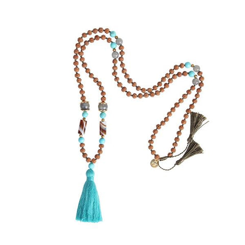 ADORE 108 MALA TASSEL NECKLACE in Turquoise