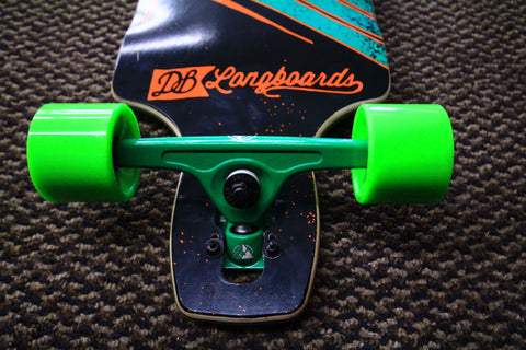 Longboard Atlas Trucks and Big Zig Abec 11 Wheels on DB drop through deck