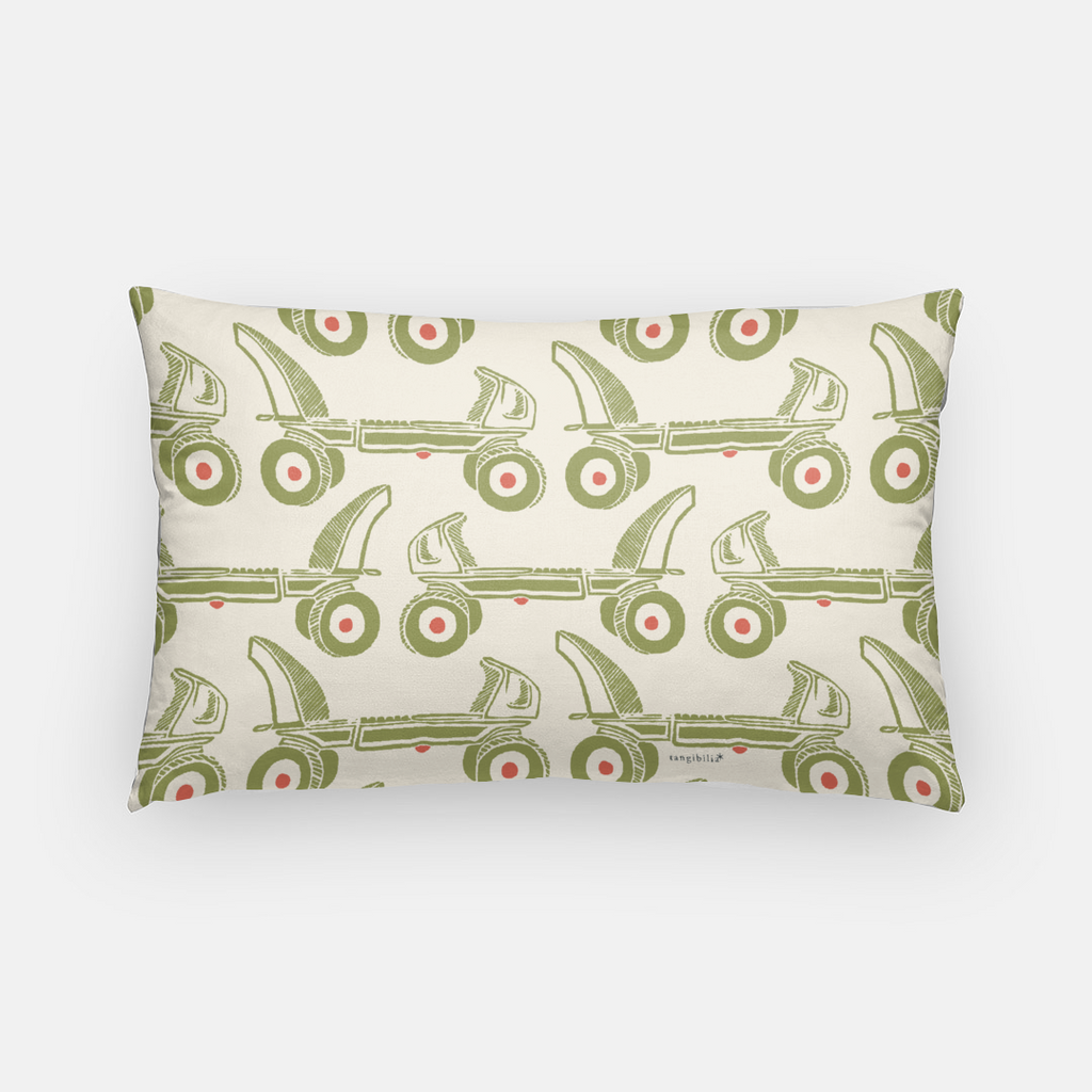 Throw pillow case | Lumbar/Rectangular | Vintage Roller Skate | Olive and Coral