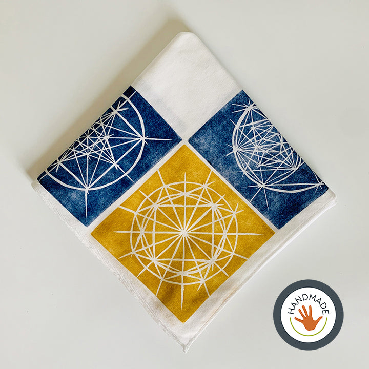 Bandana | Celestial pattern | Blueprints collection | Hand-printed