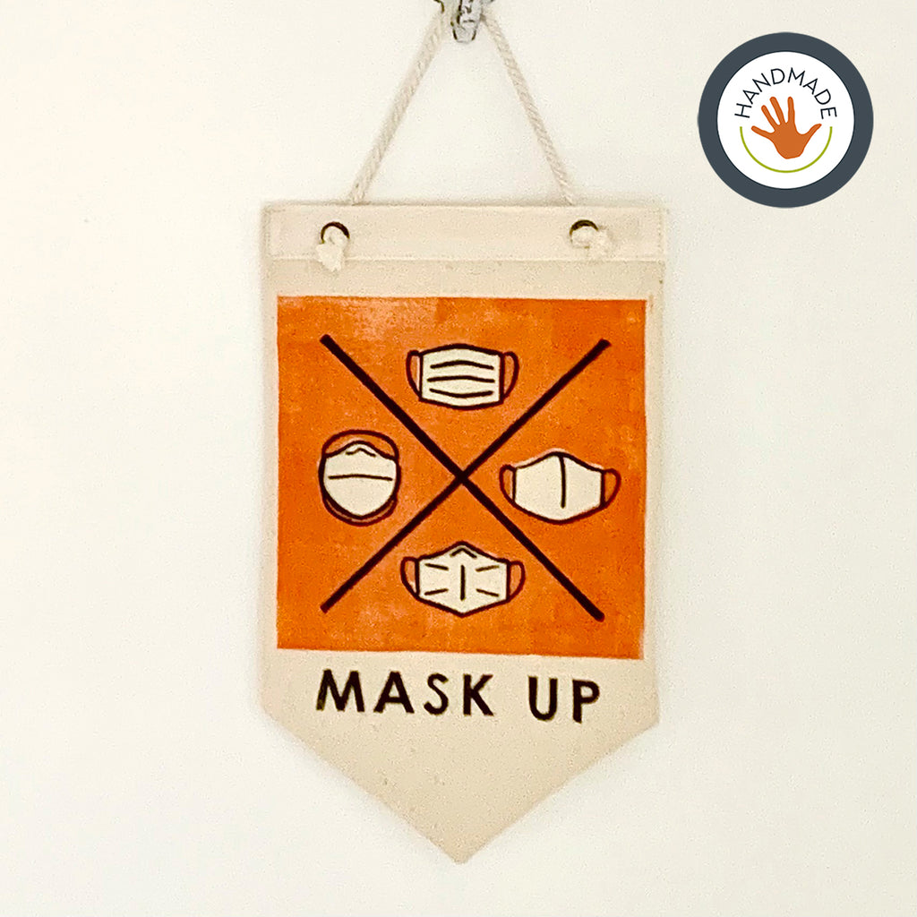 Mini banner | pennant | Mask Up! | Hand-printed | cotton | retro | fun | block print | decoration