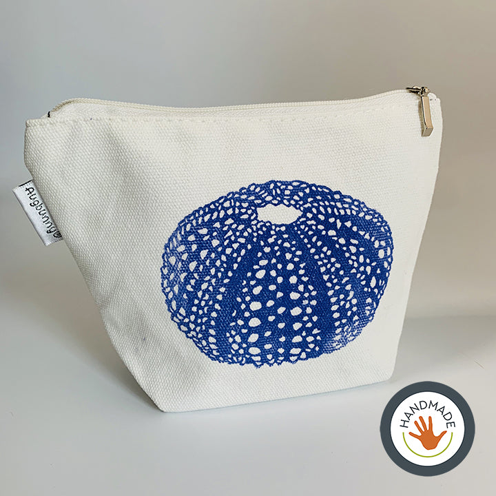 Zippered pouch | Seashells Collection | Sea urchin shell | Nautilus shell | Hand-printed