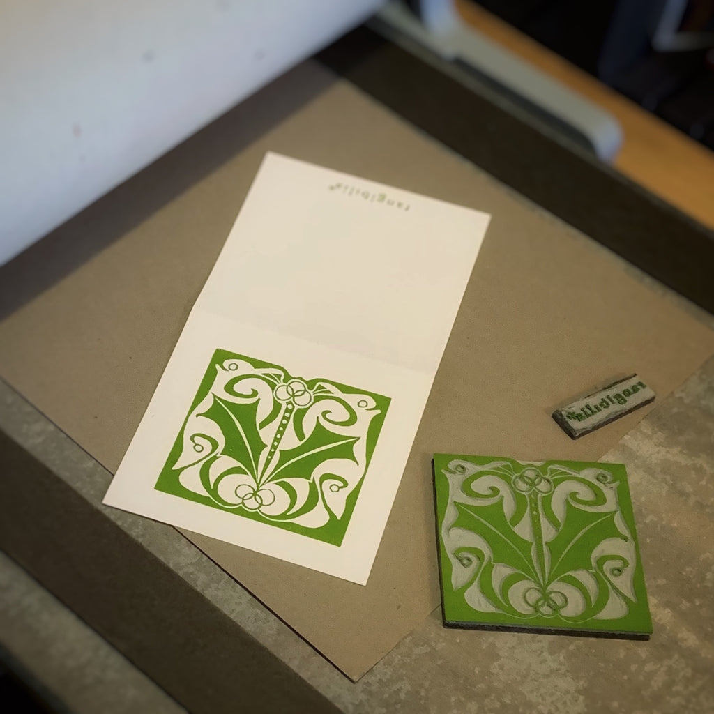 Greeting card | HANDMADE | Nouveau Holly | Holiday Collection | Block-printed