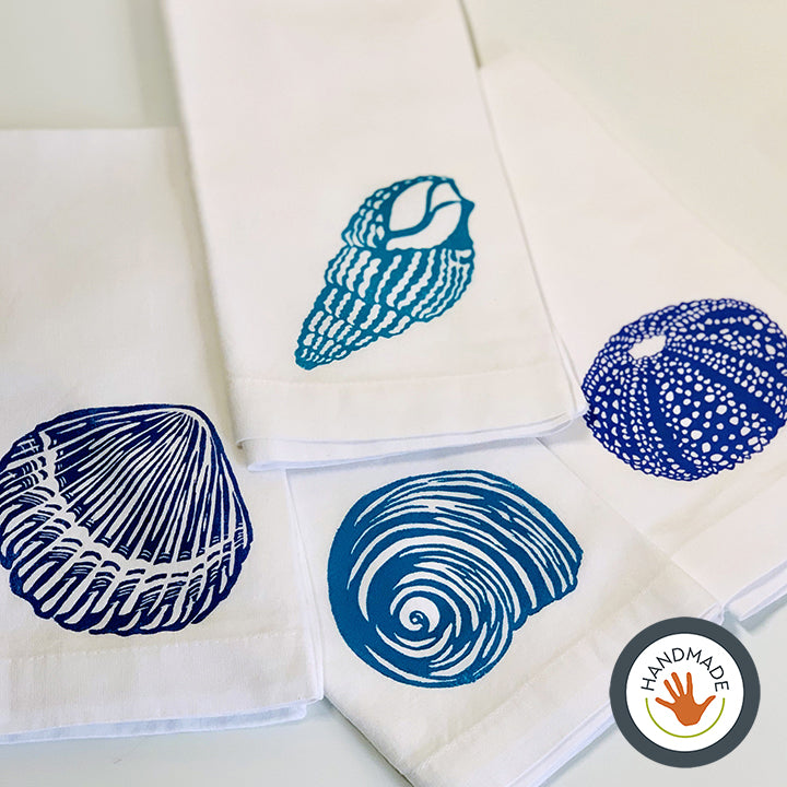 Napkins | Set of four | Seashells collection | Hand-printed
