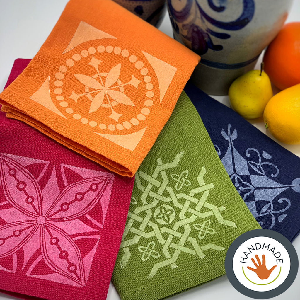 Napkins | Set of four | Tiles collection | Hand-printed | Multi-color