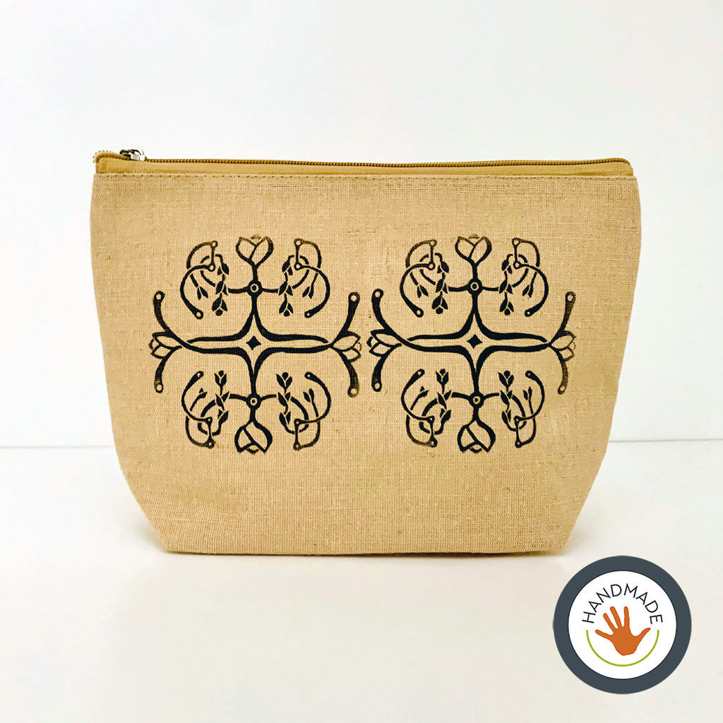 Zippered pouch | Bellflower pattern | hand-printed | jute cotton | eco-friendly | accessory | cosmetic bag | block printed
