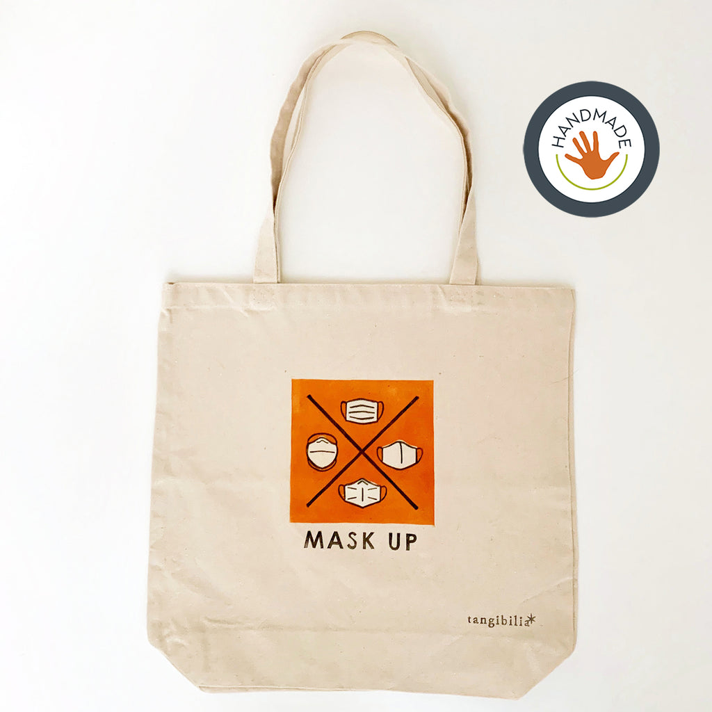 Tote | medium weight | Mask Up | Hand-printed | cotton | 2020 | retro | fun | block print | gift | bag
