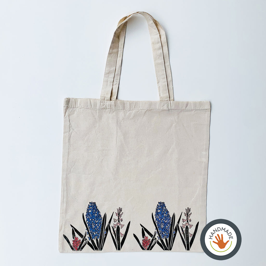 Lightweight Tote Bag | Hyacinth | Spring Flowers Collection | Hand-printed & painted